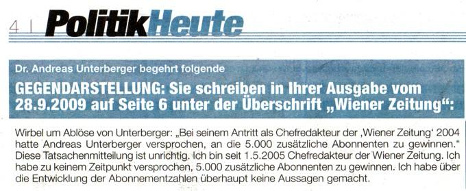 Tageszeitung Heute Gegendarstellung Für Andreas Unterberger